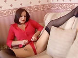 Sexy mature in stockings, shows her pussy