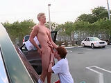 Redhead sucking some cock on car parking part6