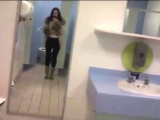 Brunette milf almost caught toying in supermarket - public s