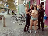 Big tits slave gangbang fucked in public
