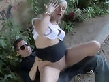Blonde bound in latex outdoor disgraced