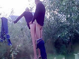 French couple fucks outdoors