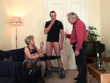 Horny grandmother fingering old pussy before threesome