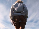This clip starts with an outdoor upskirt scene, as Maria