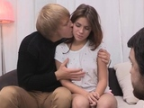 Kinky blonde sweetheart Emma Brown caresses copher