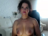 Busty brunette MILF in white stockings dildos ass and pussy