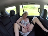 Lady Sonia masturbating in the backseat of a car