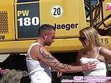 German amateur Milf slut get outdoor creampie in standing