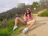 Crazy public Orgasm at the Hollywood sign in USA - Little Caprice
