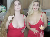 Hot busty Dolly downblouse with friends compilation