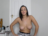 Brunette babe shaking and bouncing tits