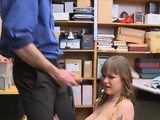 Big tit thief face fucked and punished hard in the office