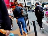 Candid skinny teen tight blue jeans in Paris