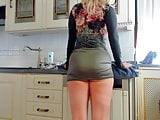 Stunning blonde milf twerking and change clothes in kitchen