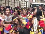 Topless African girls group dance on the street