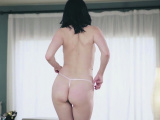 Pale skinned busty babe naked housekeeping session