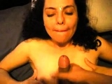 Amateur girlfriend home blowjob with cumshot in mouth
