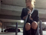 Cute Girls Masturbates In A Parking Garage