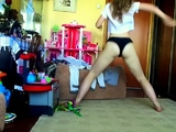 A teen takes off her panties so she can masturbate