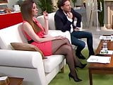 Long legs in black pantyhose on TV 10