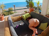 I touch myself on the balcony with people nearby ( Public masturbation ) 4k